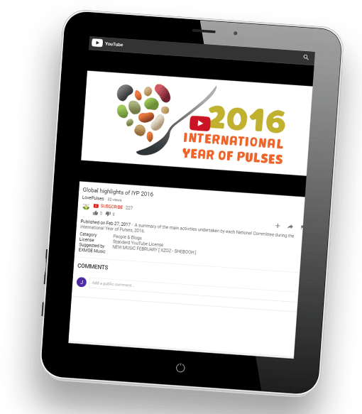 "Screenshot of a tablet with the YouTube video ""Global highlights of IYP 2016"" loaded"